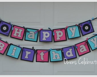 Music Happy Birthday Banner, Rockstar Happy Birthday Banner, Music Party Decorations by Owens Celebrations