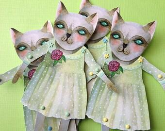 Paper Doll - Kitty Cat - Cat Art Doll