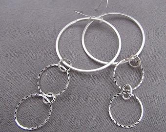 Long Sterling Silver Multi-Hoop Earrings//Dangles//70mm