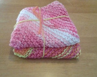 Knitted Dish Cloths, set of two.