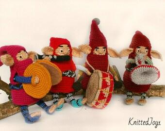Funny gnomes ,crochet cartoon gnome doll , dwarves , set of 4 gnomes , Gnome crocheted , amigurumi gnome ,handmade gnomes, , crochet playset