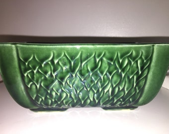 Vintage Antique Green Leaf Planter Ceramic Pot USA