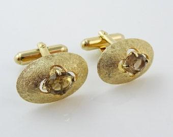 Vintage Anson Cufflinks Oval Gold Tone Grayish Stone