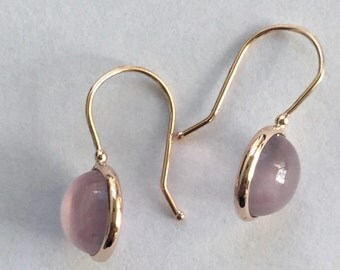 14k solid rose gold and rose quartz cabochon gemstones earrings