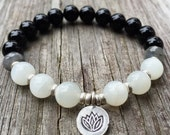 Stackable Mala Inspired Onyx, Labradorite + White Moonstone Yoga and Meditation Bracelet with Hill Tribe Silver Lotus
