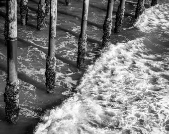 Ocean Photo, Waves, Pier, Black and White Photography, Santa Monica Pier, black and white ocean photo, ocean photography