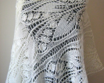 Ivory Bridal Shawl, l Lace knitting shawl, Wedding Wrap, Bridal Cover Up, Wedding shawl  , Night shawl, Bridal shrug