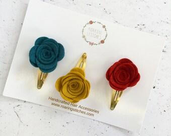 Autumn hair clips - felt roses - hair clips - snap clips