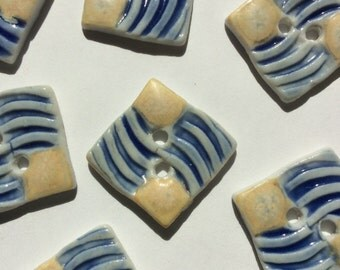 Sunny yellow, blue & white 3/4-inch square handmade porcelain buttons
