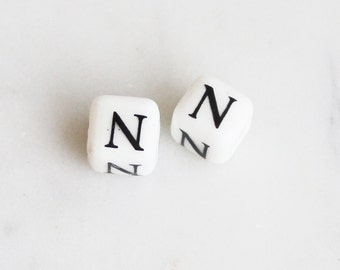 """A3-040-N] White Ceramic Initial """"N"""" / 8mm / Cube Rondelle Bead / 4 piece(s)"""