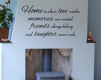 Home is where love resides,memories are created,friends always belong and laughter never ends vinyl wall decal.