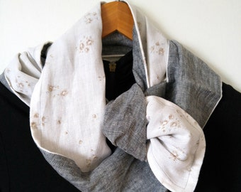 Soft Beige Grey Floral Upcycled Scarf ~ Long, Linen Scarf ~ Repurposed Grey Linen Scarf ~ Women's Upcycled Scarf ~ OOAK Linen Upcycled Scarf