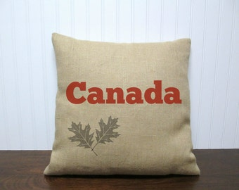 Canada Burlap Pillow Cover. Maple Leaf Pillow. Custom Pillow Cover. Zipper enclosure
