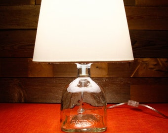 Table Lamp Patron Tequila Glass Bottle With A White or Grey Shade