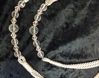 One Pair Beige Beaded Twisted Rope Designer Curtain Tie Backs