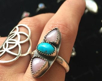 Pink opal and turquoise ring