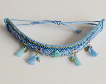 Jewel for Dog made in France. The Bijou Tinou-Boho collar blue