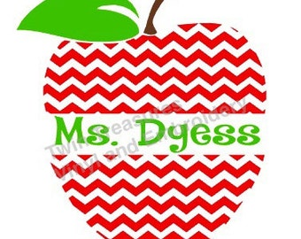 Chevron Apple Vinyl Decal W/ Custom Name