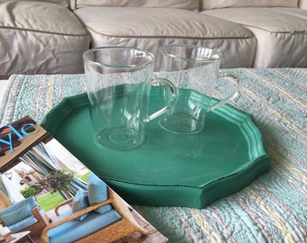 Shabby chic tray aqua wood