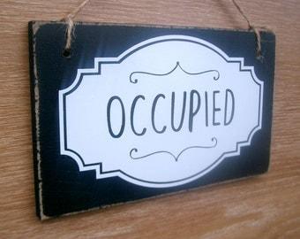 Bathroom Sign Vacant bathroom door sign | etsy