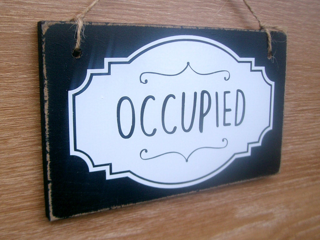 Bathroom Sign Occupied occupied / vacant double sided bathroom door sign. toilet