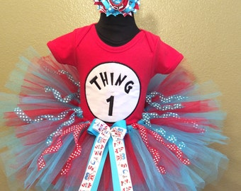3 Pc Thing 1 Thing 2 Thing 3 Tutu and Bow On Headband Ages 1-6, Little Girl, Toddler, Big Girl Sizes 6m-6yr - Any Thing Number