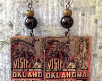 Up-cycled Visit Oklahoma Earrings, Decoupage Earrings, Will Rogers Hotel