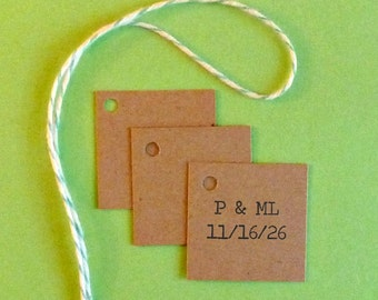 100 wedding tags mini tags wedding favor tags Mr and Mrs tags bride and groom tags his and her tags bridal shower tags gift tags square tags