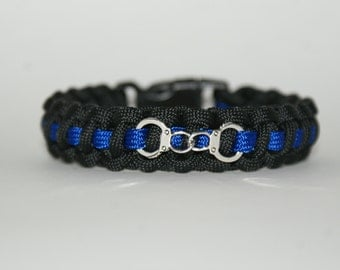 Thin Blue Line Bracelet with Handcuff Charm