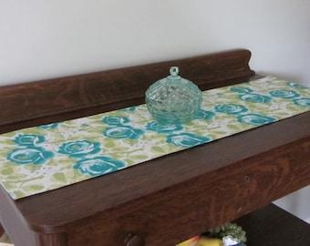 Turquoise and Lime Floral Dresser Scarf, Floral Table Runner, Turquoise Roses Runner, Lime Green Leaves Runner, Short Narrow Floral Runner