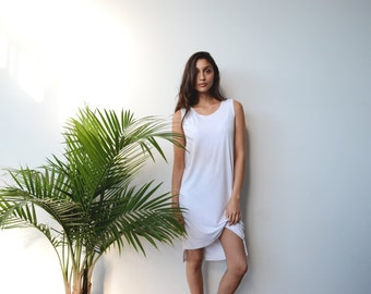 Sleeveless Shift in White in Bamboo Rayon - PAST SEASON