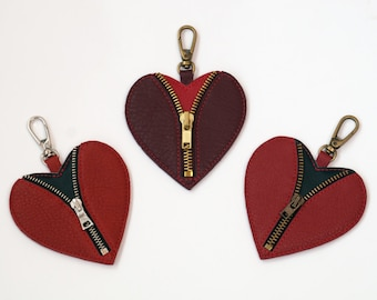 Leather Bag Charm, Valentine, Leather Heart, Leather Zipper Pull, Leather Keychain, Key Fob, Friend Gift, Valentine's Day Ornament
