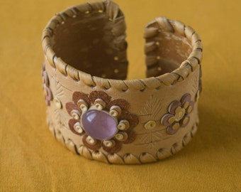 Bracelet made of Birch Bark by the original technique with Siberian Amethyst.
