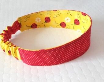 Fabric Headband Reversible Headband Cloth Headband Toddler Headband Valentine's Day Headband Hair Accessory Girls Headband Ladybug Hair