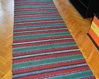 Rag Rug, Kilim rag rug, Woven Rug, Boho Chic Shabby Rugs, Hippie Decor, Rag Rug Runner,  Runner Cotton Loomed Rug, 10.3 ft/3.08 ft