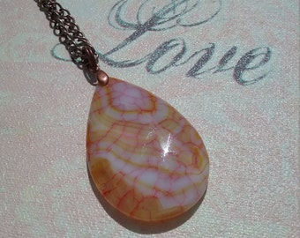 Yellow Agate pendant drop necklace