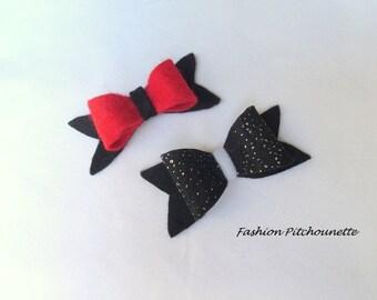 Barrette hair elegant Click Clack baby child modern black red Butterfly