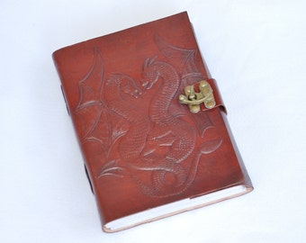 Handmade Double Dragon Tooled Leather Blank Journal, Diary, Sketch or Notebook Book