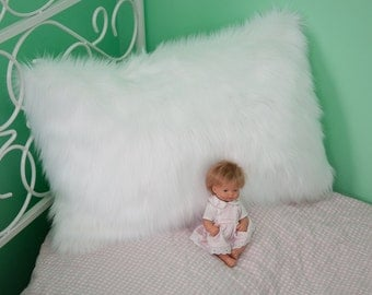 White faux fur oblong (rectangular)  pillow