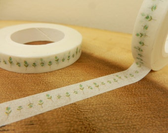 Flower Bud Washi Tape, 8mm Japanese Tape, Green Buds Prints,Scrapbooking Decal, Gift for Gardener