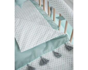 Baby bedding set – baby bedding boy - mint nursery – baby shower gift – polka dot