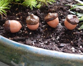 Handmade Fairy Garden Accessories, Set of 4 Acorns made of Polymer Clay