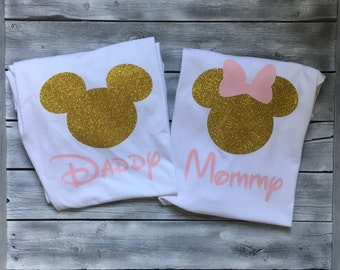 Mommy and daddy minnie and mickey mouse shirts, pink gold minnie mickey mouse shirt, mickey mouse daddy shirt, mommy and daddy disney shirts