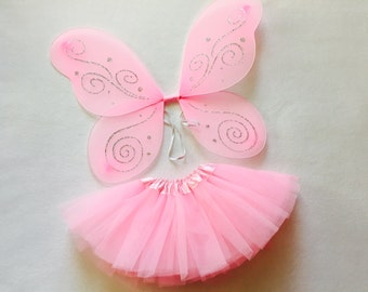 Pink fairy outfit, pink fairy costume, fairy birthday outfit, pink fairy wings, halloween costume, girls fairy outfit, pink fairy birthday