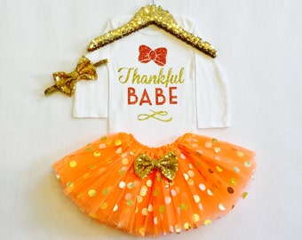 Baby Girl Thanksgiving Outfit, Baby Girl 1st thanksgiving bodysuit, girls thanksgiving Outfit, thankful babe, toddler girl thanksgiving