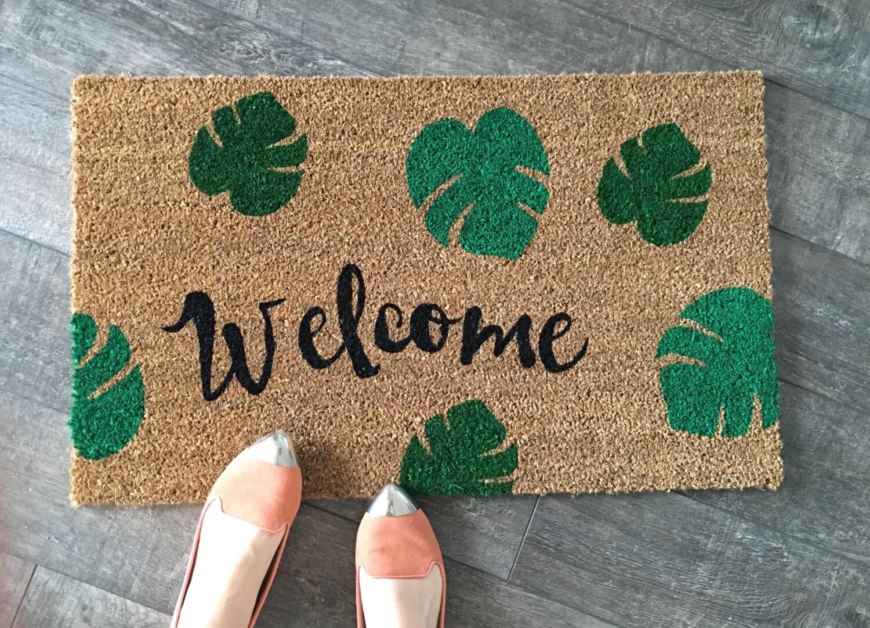 Palm Leaves Welcome Mat Custom Doormat Housewarming Gift