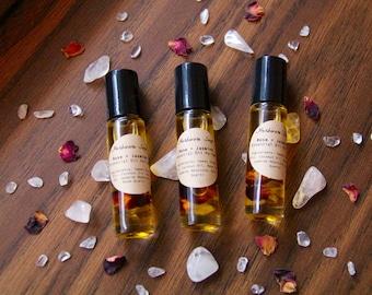 Jasmine + Rose Crystal Infused Roll On Essential Oil Perfume