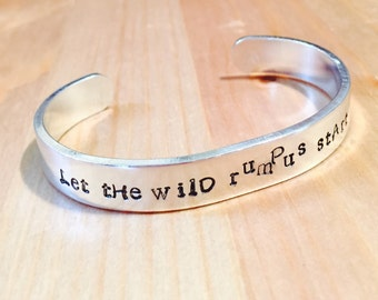 Customized Let The Wild Rumpus Start Adjustabale Cuff Bracelet