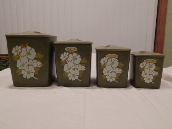 green floral square canister set by woodrowsrelics on etsy