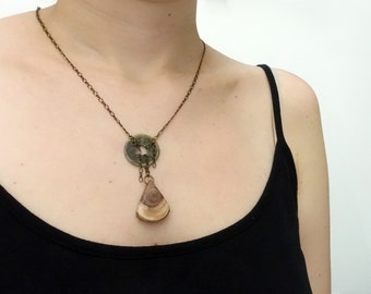 Wooden necklace, pink wooden triangle, upcycled coin